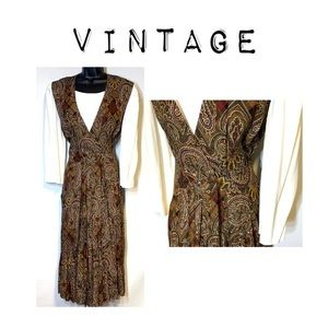 Vintage Long Sleeve Paisley Midi Dress